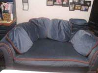 Super cool vintage loveseat for sale. Blue with orange
