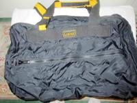 Vintage Lucas black and gold suitcase, approximately