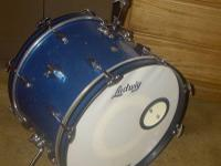 "Ludwig 1960's Downbeat Kit. Blue sparkle with 20"" kick,"