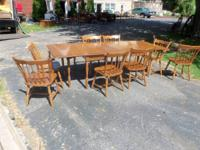 Classic drop leaf maple table with 8 chairs and 2
