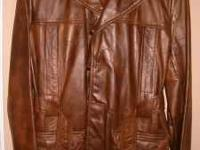 Vintage Men's Brown Leather Jacket. Genuine Front