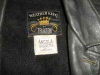 Vintage Black Leather Coat from the late 1960's Weather
