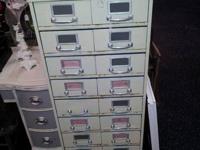 Vintage  Metal 20 Dawer Metal Filing Cabinet OPEN