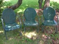 Vintage metal porch chairs (3) in good condition but