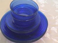 Set for four of cobalt blue glass dishes marked Mexico,