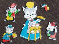 Set of 5 VINTAGE Heavy Cardboard 3 Little Kittens WALL