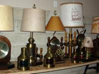 A collection of rare vintage nautical lamps,