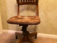 Vintage Solid Oak Office Chair . Adjustable back & seat
