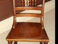 Classic Oak Armless Rocking Chair with Wooden Punch