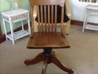 Heavy wood and well built vintage workplace chair made