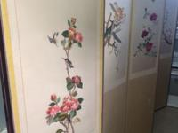 Vintage Oriental Silk Embroidered Floral Screen - 6