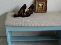 Vintage bench painted with Annie Sloan Chalk Paint Duck