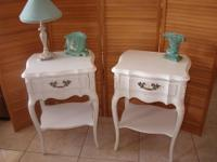 Vintage Pair of French Night Stands White Shabby Chic -