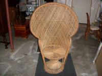 Large adult size peacock wicker fan chair, excellent
