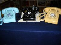 Older rotary dial phones. All have been cleaned, tested