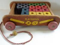 Vintage Wood Pull Wagon from Playskool 20 Wood Blocks