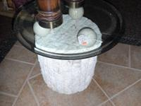 Ponte Round Glass Top w/ Fossil Stone Base This is a a