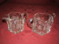 Stunning pushed glass sugar and creamer set from the