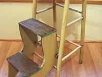 This great old wooden folding step stool is in perfect