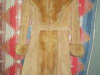 1. Sears tan suede princess coat, lamb fur collar,