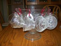 "VINTAGE PUNCH BOWL SET ORCHARD CRYSTAL ""TREE OF LIFE"""