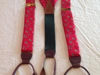 Vintage Ralph Lauren silk suspenders; red background
