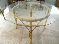 "Rattan Dining Table 48"" Glass Top ------- Vintage In"