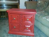 Vintage Red Antiqued Nightstand - $65 OBO  This piece