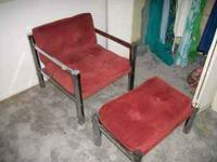 Vintage Red Chair w/Ottoman Great Condition. $50