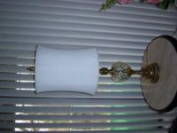 2 matching 1970 vintage lamps 3 way cloth shades 45""