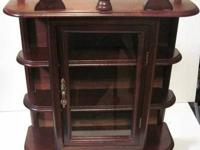 Vintage Retro Wall Curio Display Cabinet Shelf Wood &