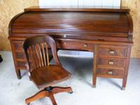 "This vintage set consists of a ""C"" type roll-top desk"