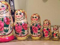 Vintage Hand-painted Russian Nesting Dolls Set of 6 A