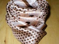 "This vintage scarf is beige & & brown and steps 26"" x"