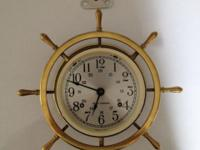 vintage Brass wall clock. Made by the American Seth