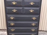 Classic Shabby Chic Black Upper body of Drawers in