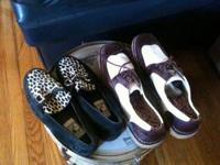 pair of vintage leopard print shoes - size 9.5 - pair