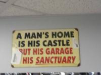 VINTAGE SIGNS FOR MAYBE A MAN CAVE OR GARAGE  PIC 1