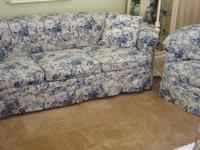 Beautiful vintage channel-back sofa and chair circa