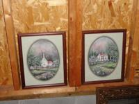 Vintage Spring Church Picture Wooden Frame.These framed