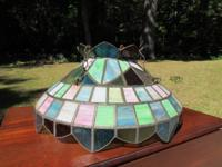 Very large vintage stained glass (?) hanging light