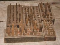 Nine (9) wood block trays of old Hand Made steel