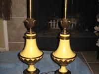 Two Stiffel brass and creme enamel Hollywood Regency