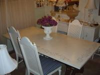 Beautiful hand painted table in antique white and
