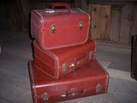 A really nice 3 piece matching set of vintage luggage