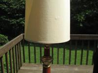 Vintage Tall Colonial Style Lamp 1970s 1980s Brown and