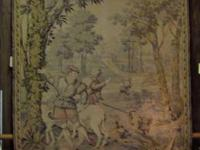 This vintage tapestry depicts a German Renaissance