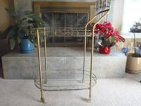 Lovely vintage metal and glass 2 shelf tea cart on