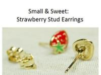 Tiny Vintage Strawberry Earrings. Gold Plate over