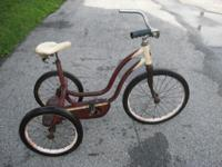 vintage tricycle, made in Indiana, Pal Superbike, metal